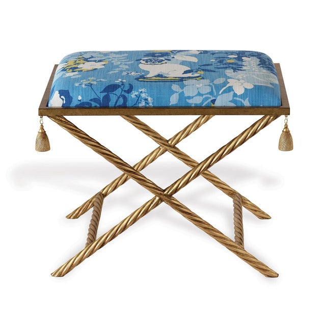 Chinoiserie Madcap Cottage Gilt Tassel Metal Frame Bench For Sale - Image 3 of 6