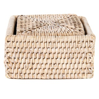 Artifacts Rattan Square Coasters & Box For Sale