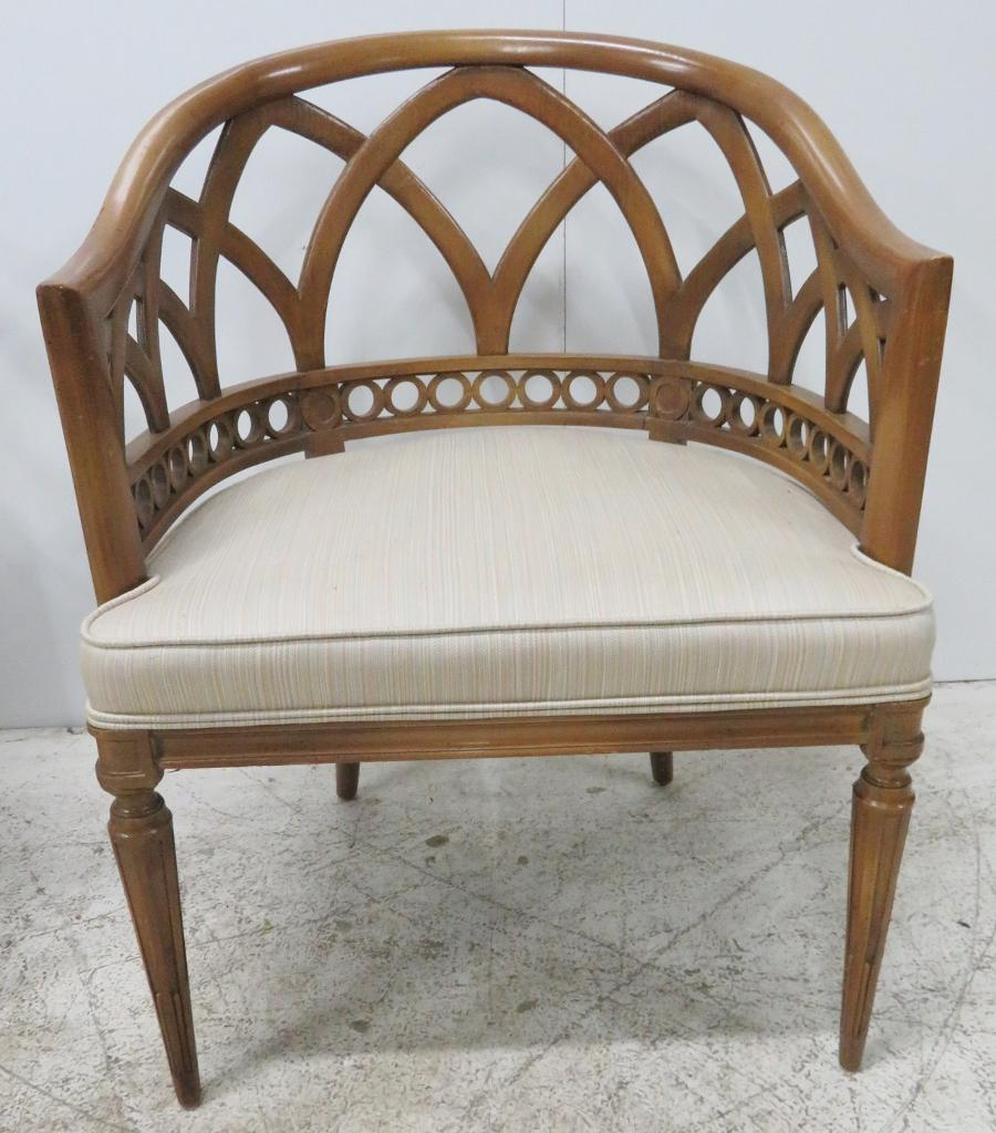 Italian Italian Lattice Barrel Back Chairs   A Pair For Sale   Image 3 Of 7