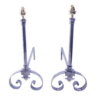 French Polished Steel and Brass Andirons - a Pair For Sale