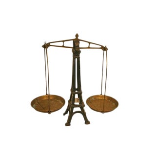 Vintage Iron and Brass Eiffel Tower Scale For Sale