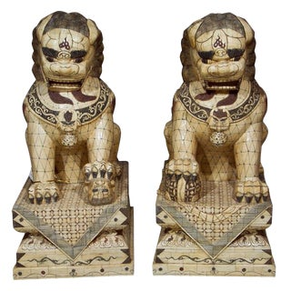 Pair of Palace Sized Bone Foo Dogs Sculptures For Sale
