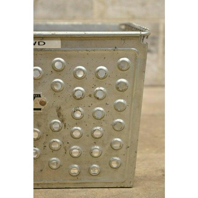 Gray Vintage Kaspar Industrial Wire Works Metal Perforated Storage Gym Locker Basket For Sale - Image 8 of 12