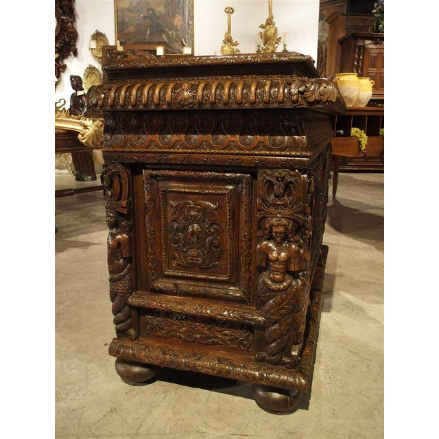 French French Walnut Wood Renaissance Buffet For Sale - Image 3 of 11