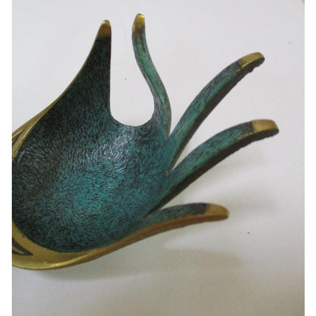 Modernist Brass Hand Sculptural Form Dish - Image 3 of 9