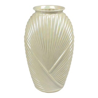 Tall Faceted Geometric White Pearlized Art Deco Draped Glass Vase, 1980s For Sale