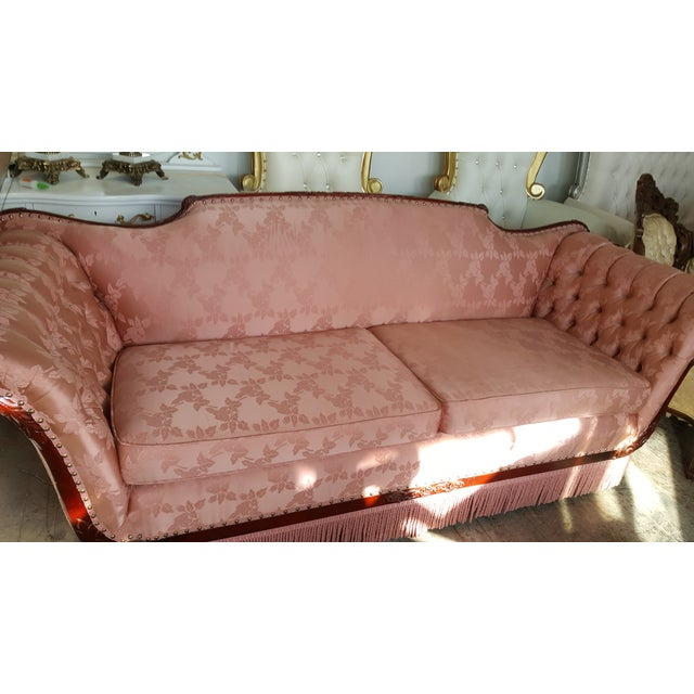 Antique Victorian Pink Loveseat Sofa - Image 3 of 6