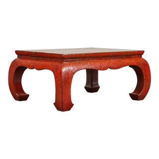 19th C. Red Crackle Lacquer Kang Table For Sale