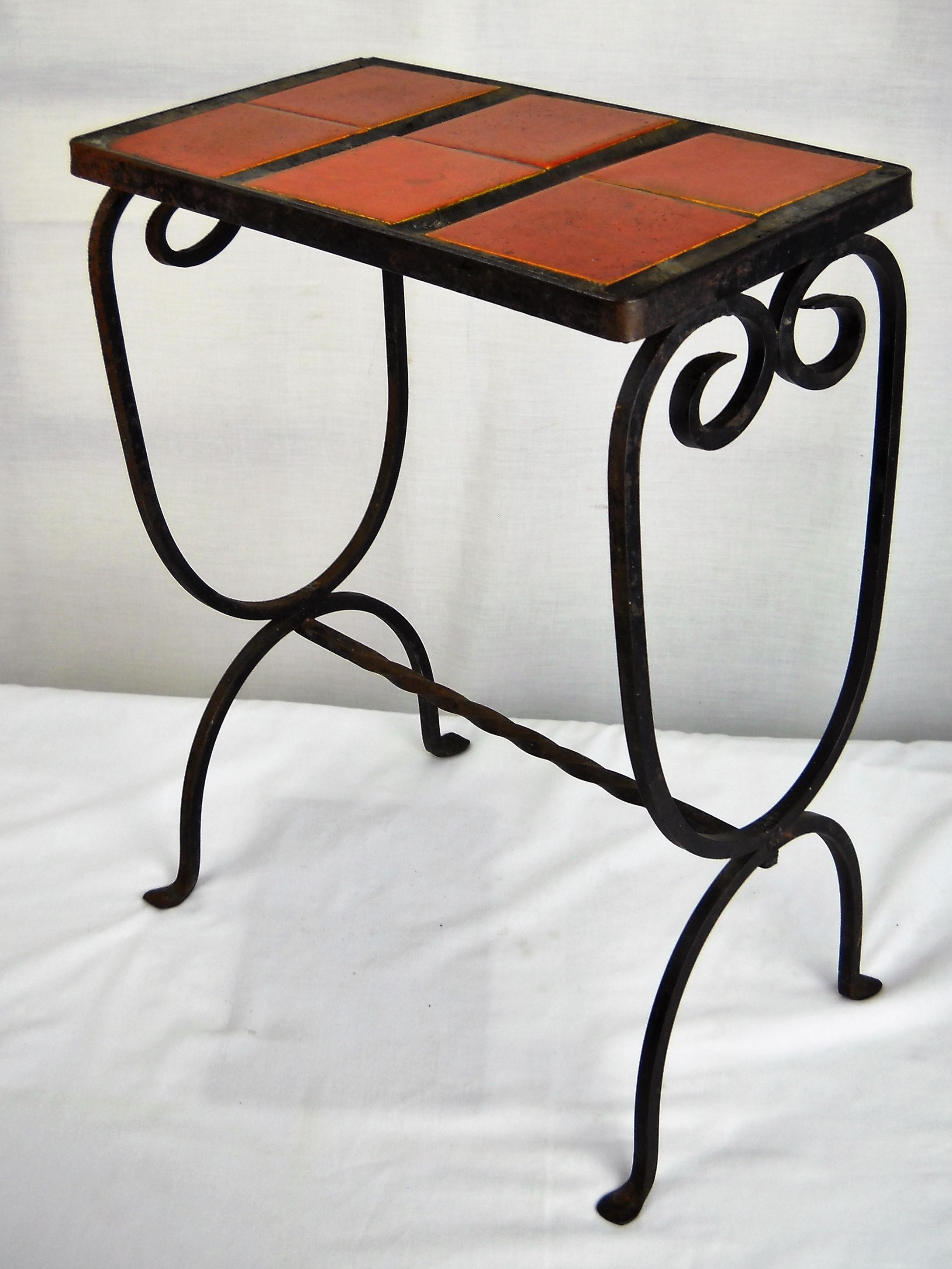 Vintage California Mission Style Hand Crafted Wrought Iron Accent Table  With Vibrant Red Tile Top