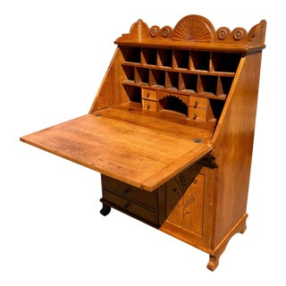 Antique Eastlake Victorian Carved Quartersawn Oak Farmhouse Drop Front Secretary For Sale
