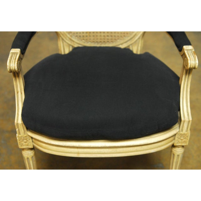 Louis XVI Style Cane Fauteuil Armchairs - Set of 5 For Sale In San Francisco - Image 6 of 10
