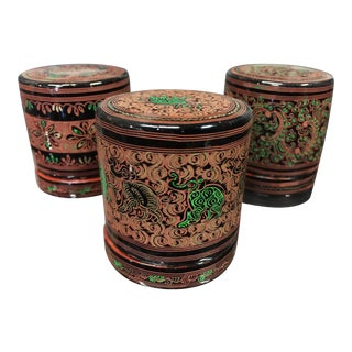 Burmese Lacquer Containers - Set of 3