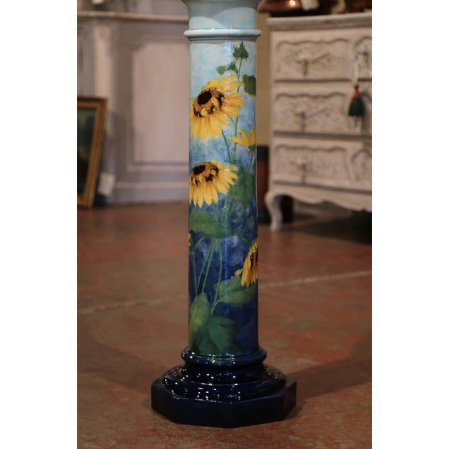 This elegant Majolica cachepot with scalloped edge and matching Stand were created in Southern France by Massier, circa...