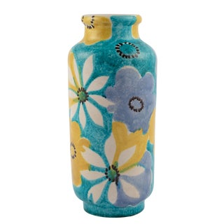 Alvino Bagni for Raymor Aqua Vase With Flowers, Circa 1960s For Sale