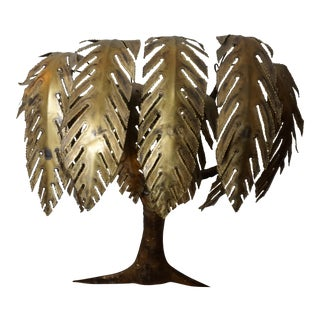 1970s Vintage Torch Cut Brass Brutalist Palm Wall Sculpture For Sale