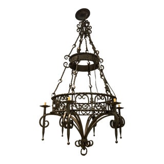 Custom Made Cast Iron Chandelier For Sale