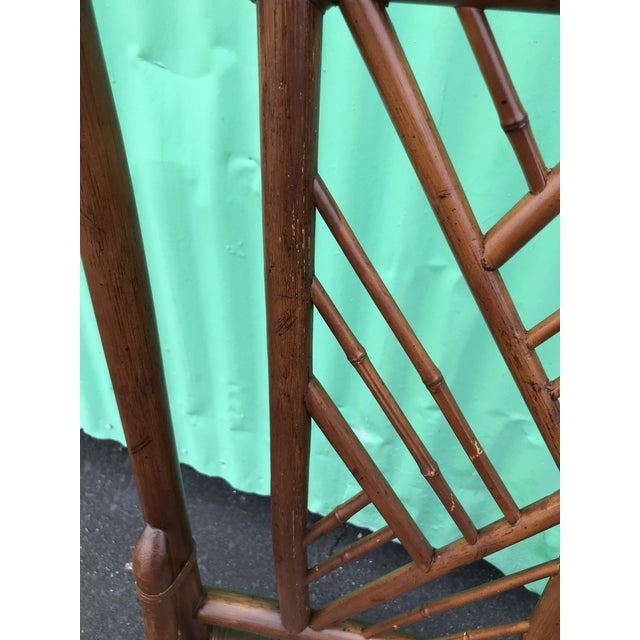 Wood Vintage Brown Jordan Rattan Brighton Pavilion Style Table Four Chairs For Sale - Image 7 of 13