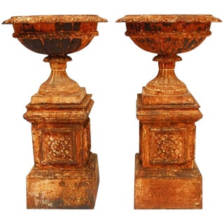 French Cast Iron Garden Urns - A Pair