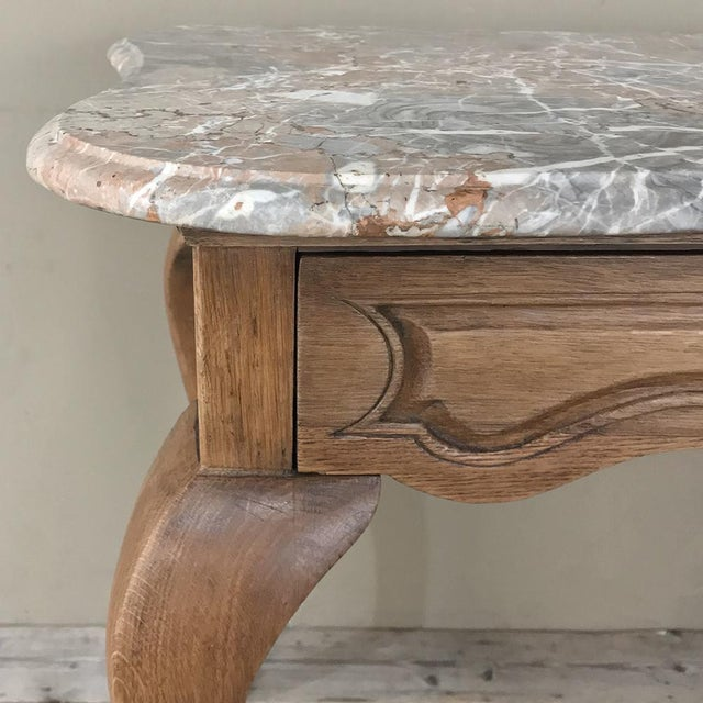 19th Century French Louis Philippe Walnut Marble Top Writing Table For Sale - Image 9 of 12