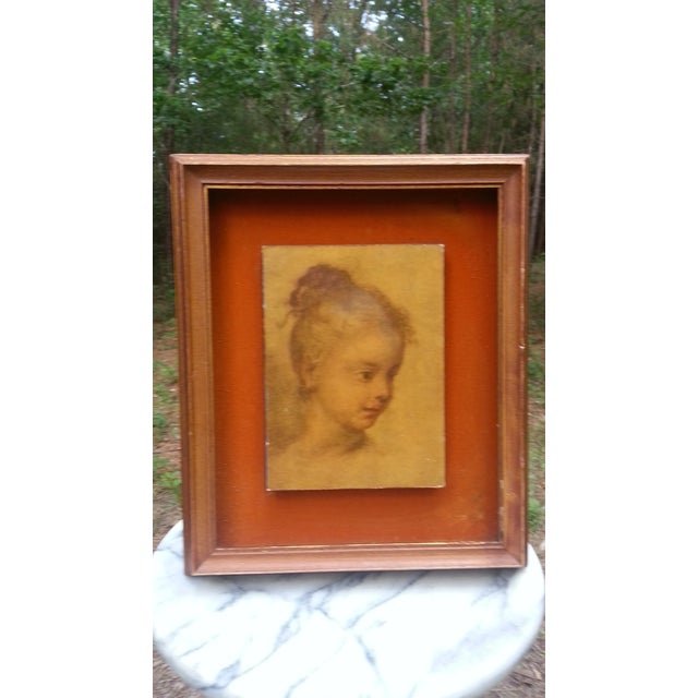 "Portraiture Rosalba Carriera ""Head of a Child"" Pastel Drawing For Sale - Image 3 of 6"
