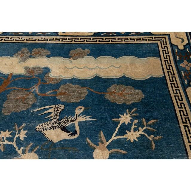 Blue Early 20th Century Antique Art Deco Chinese Peking Wool Rug For Sale - Image 8 of 13