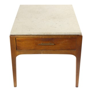 Lane Mid-Century Altavista Walnut Side Table With Terrazzo Top For Sale