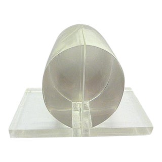 Vintage Mid Century Modern Lucite Clear Half Sphere Circle Bookends - a Pair For Sale