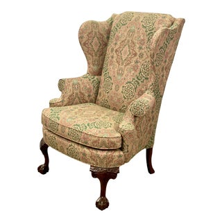 Vintage Mahogany Hickory White Chippendale Style Upholstered Wingback Chair For Sale