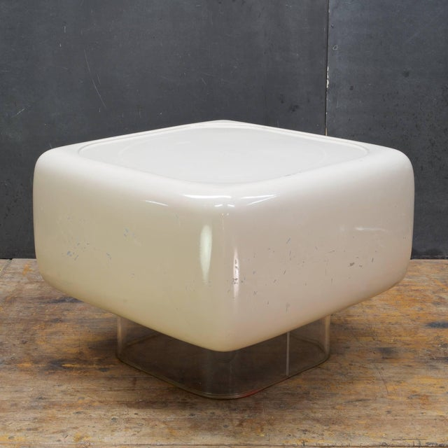 Uncommon beauty in this Post Modern design on transparent pedestal. We are offering this item in as-found condition with...