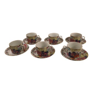 1970s Horchow Tobacco Leaf Cups and Saucers - Set of 6 For Sale