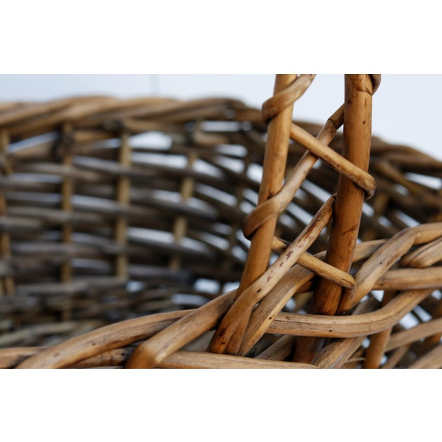 Mid 20th Century Vintage French Wicker Shopping Basket For Sale - Image 5 of 6