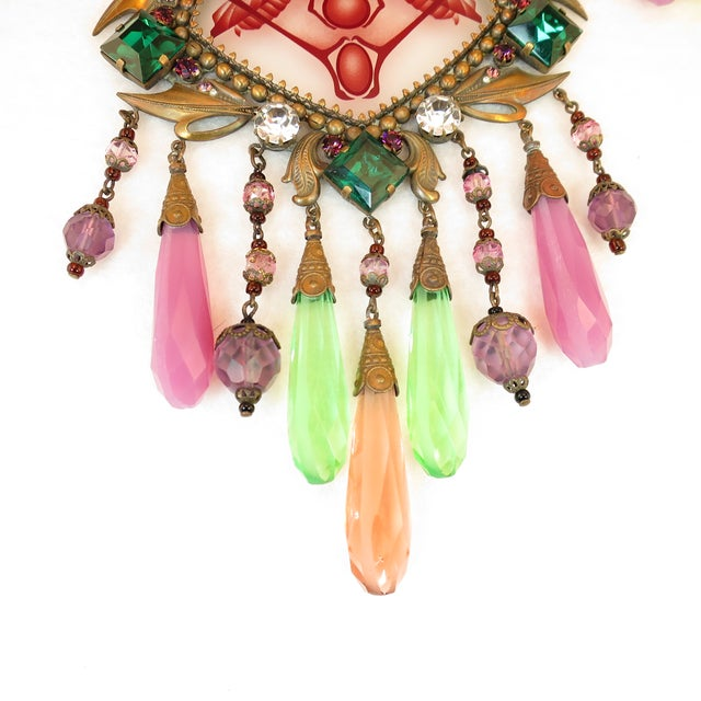 Massive Czech Art Deco Egyptian Revival Painted Glass & Crystal Necklace 1920s For Sale In Los Angeles - Image 6 of 12