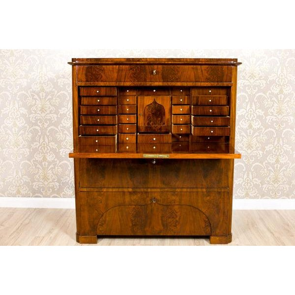 Mid 19th Century 19th-Century Biedermeier Secretary Desk Veneered with Mahogany For Sale - Image 5 of 11