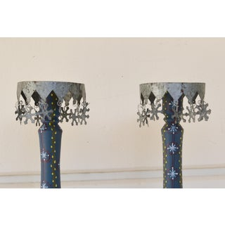Vintage Swiss Candleholders Blue Hand-painted Wood and Tin Candleholders - a Pair Preview