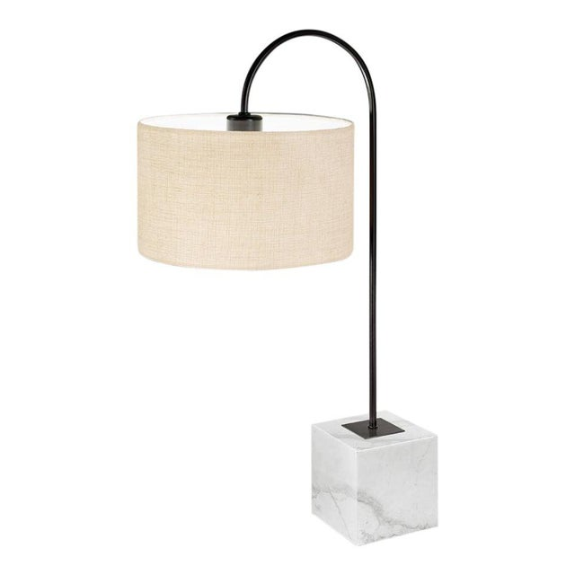 Black Bronze Lamp With Natural Stone Base For Sale - Image 4 of 4