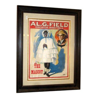 Custom Framed Minstrel Advertising Poster For Sale
