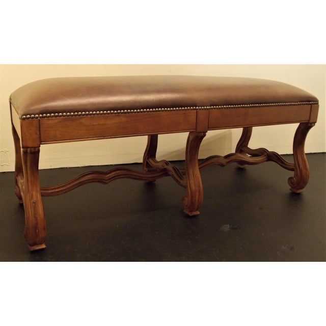 Wood and Leather Bench - Image 2 of 8
