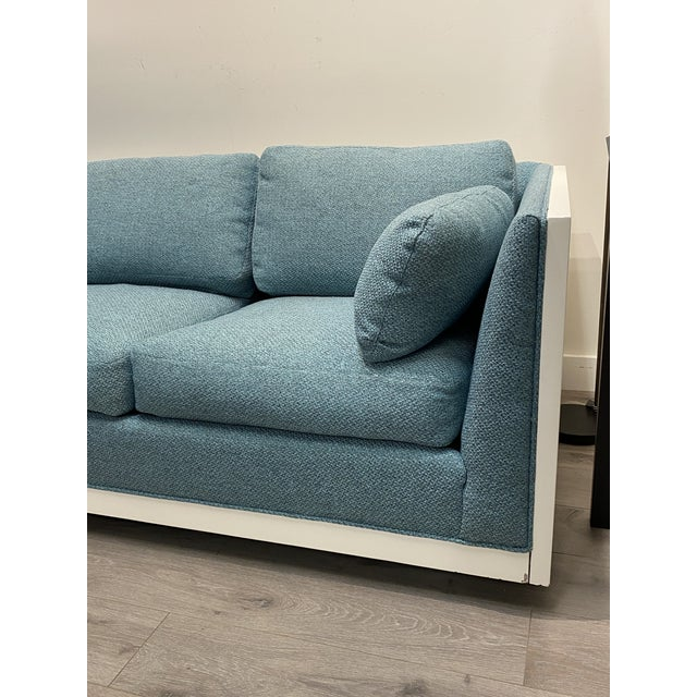 Milo Baughman Milo Baughman Sofa Newly Upholstered Blue Fabric W/ New White Lacquer For Sale - Image 4 of 8