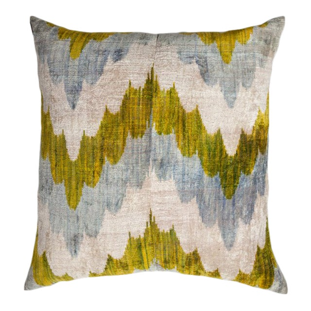 Vintage X-Large Square Waves Light Blue/Green/Silver Silk Velvet Ikat Pillow For Sale