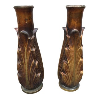 Art Deco Bronze Candle Holders or Vases - A Pair
