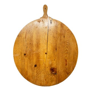 Early 20th Century Antique French Pine Boulangerie Round Breadboard For Sale
