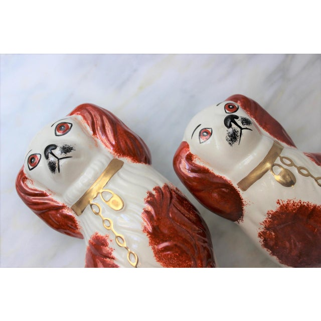 Brown 1950s Figurative Staffordshire Ceramic Spaniels Dogs - a Pair For Sale - Image 8 of 13