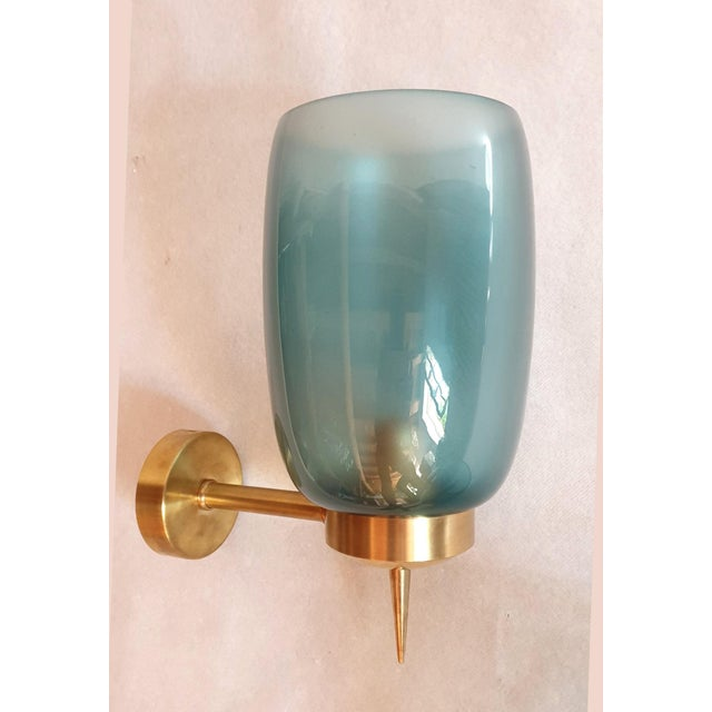 Mid-Century Modern 1970s Mid-Century Modern Blue Murano Glass Sconces Attr to Seguso - a Pair For Sale - Image 3 of 6