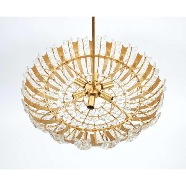 Metal Palwa Large Gold Brass and Glass Chandelier Lamp, 1960 For Sale - Image 7 of 10