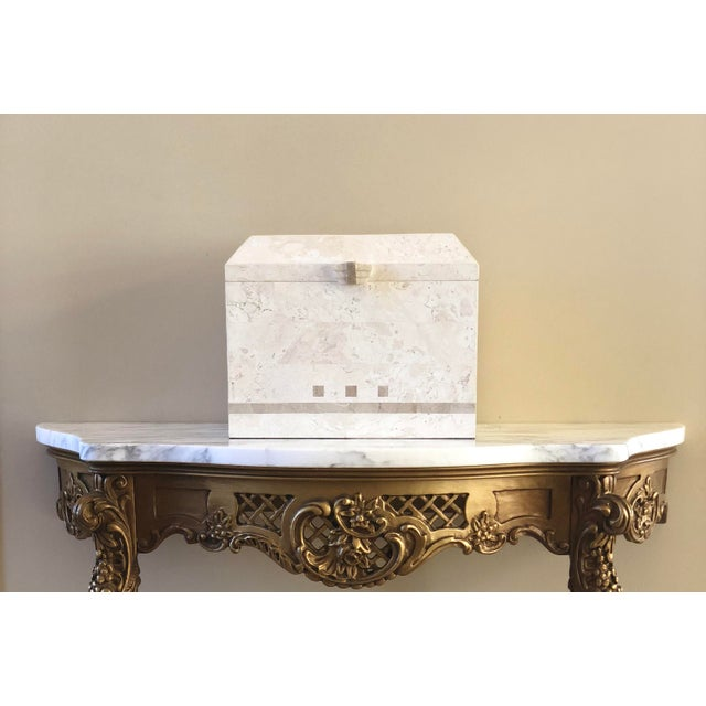 Stone 1980s Art Deco Maitland-Smith Tessellated White Stone Large Storage Box For Sale - Image 7 of 8