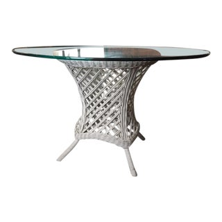 Henry Link Wicker and Glass Table For Sale