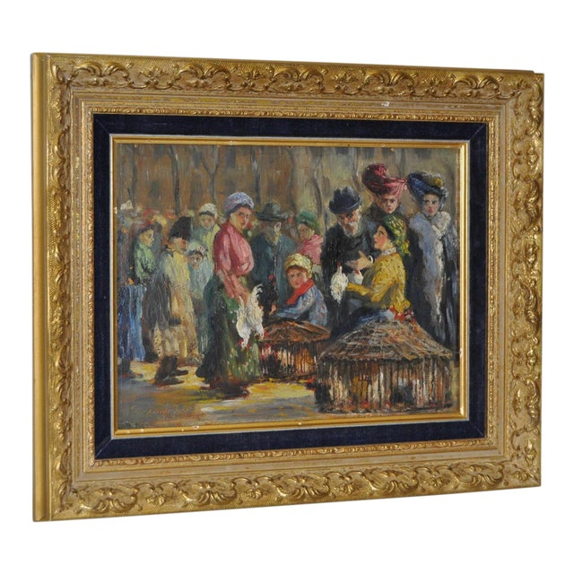Impressionist European Market Scene Oil Painting - Image 1 of 9