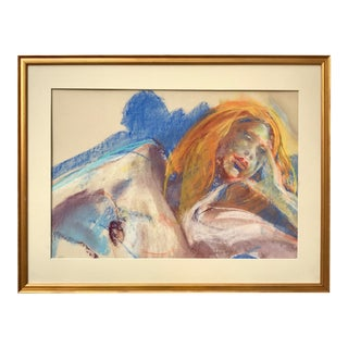 Vintage Modernist Pastel of Reclining Nude Woman by Gerard Haggerty For Sale