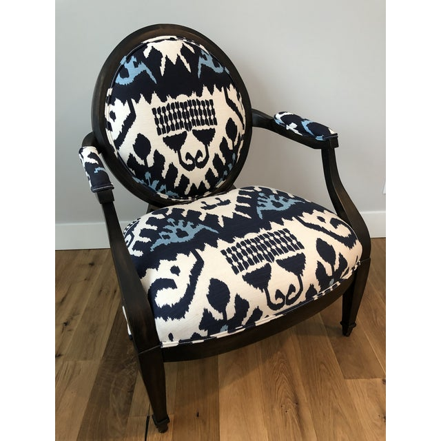Highland House Kazak by China Seas Fabric and Leather Upholstered Medallion Back Lounge Chair For Sale - Image 13 of 13