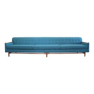 Mid Century Walnut Long Floating Sofa For Sale